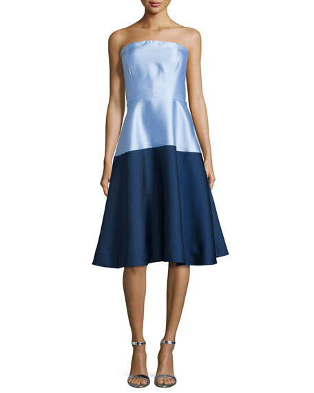 Strapless Colorblock Midi Cocktail Dress, Cornflower/Navy