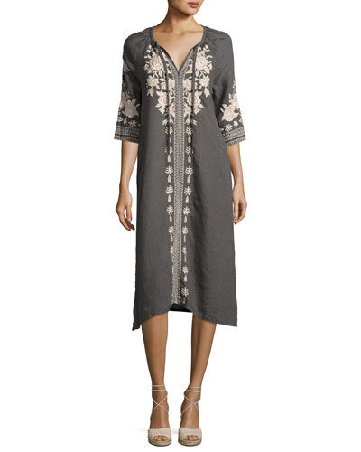 Carmelita Embroidered Linen Peasant Dress  Voltage