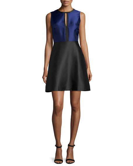 Erin Fetherston Eliza Colorblock Fit-&-Flare Dress, Black/Sapphire