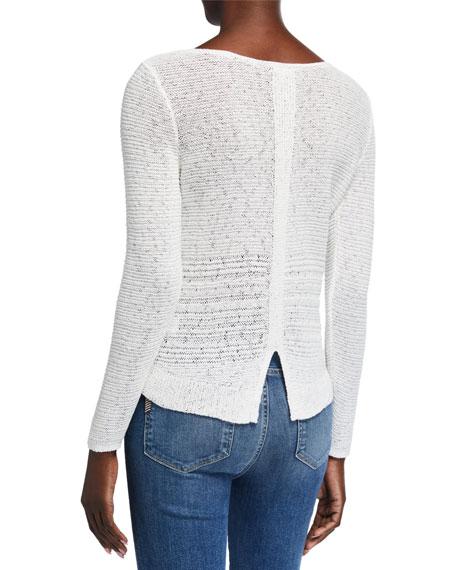 Long-Sleeve Sheer Illusion Sweater Top