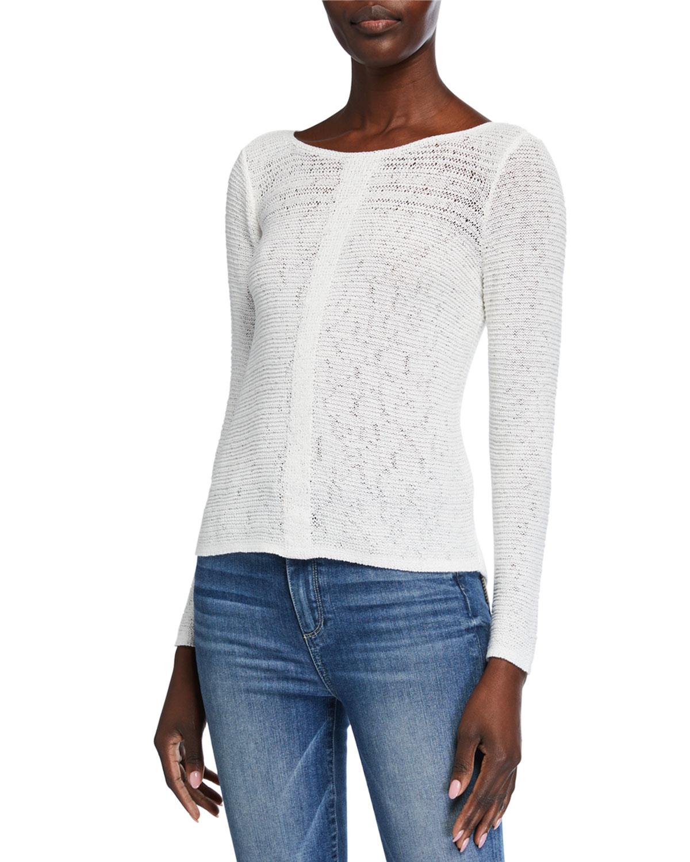Niczoe Long Sleeve Sheer Illusion Sweater Top Neiman Marcus