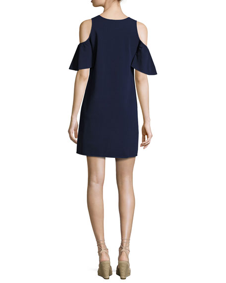 Flutter-Sleeve Shift Dress, Navy