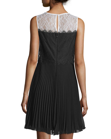 Sleeveless Lace Pleated-Skirt Cocktail Dress