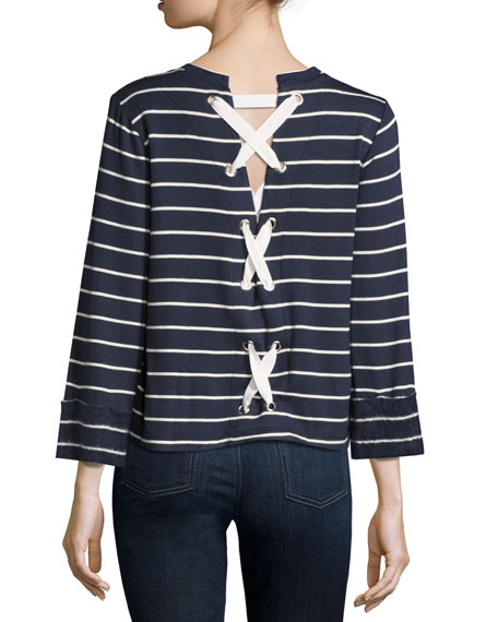 Dune Striped Lace-Back Top, Navy/White
