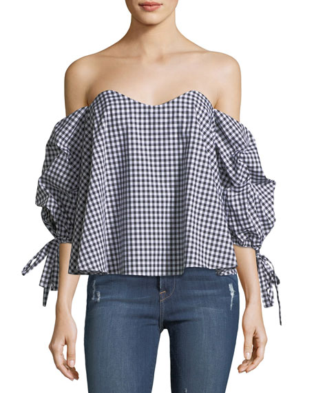 Caroline Constas Gabriella Off-the-Shoulder Gingham-Print Top