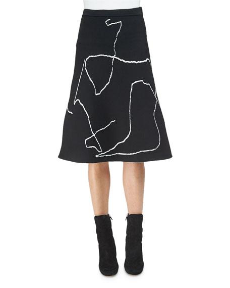 Derek Lam Calder Line Art A-Line Skirt, Black