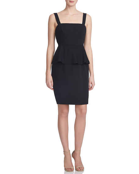 Cynthia Steffe Peplum-Waist Sheath Dress, Rich Black