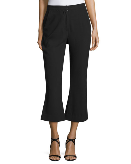 NICHOLAS Paneled Flare-Leg Cropped Pants, Black