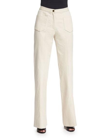 Co High-Waist Flare-Leg Jeans, Ivory