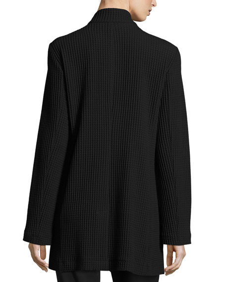 Stand-Collar Gridded Topper Jacket, Plus Size