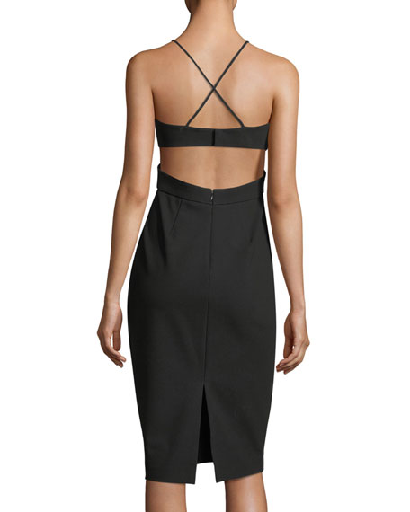 Sleeveless Cutout Stretch Crepe Cocktail Dress