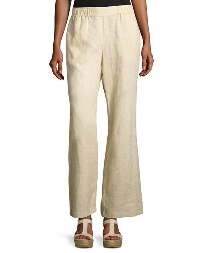 Petite Linen Wide-Leg Pants