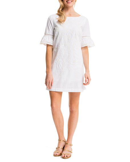 Cynthia Steffe Noelle Embroidered Sheath Dress, Lily White