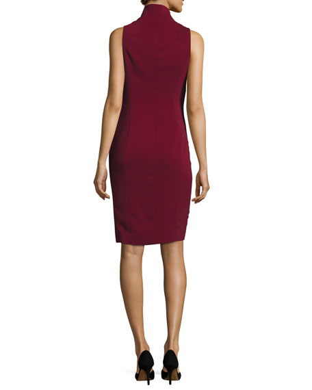 Sleeveless Cowl-Neck Sheath Dress, Bordeaux