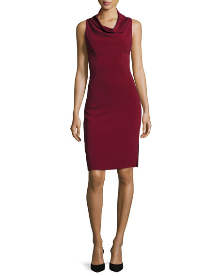 Milly Sleeveless Cowl-Neck Sheath Dress, Bordeaux