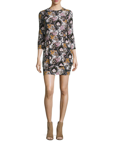 A.L.C. Tordi Floral Silk Mini Dress, Black/Pink/Green