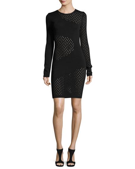 Thierry Mugler Long-Sleeve Mesh-Inset Dress