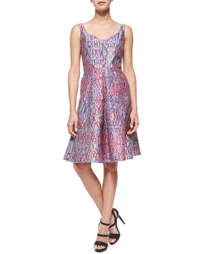 Machu Picchu Sleeveless V-Neck Printed Midi Dress