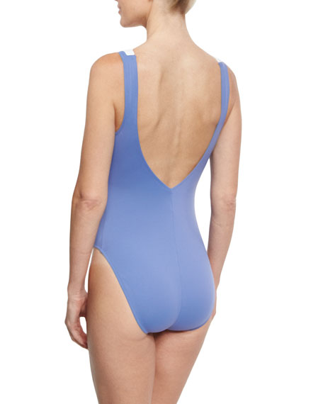 Santorini Lace-Up Front One-Piece Swimsuit, Bleached Denim