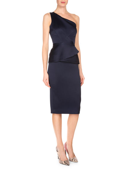 Roland Mouret Anerly One-Shoulder Double-Face Satin Dress, Navy