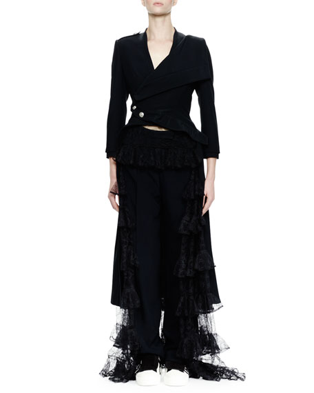 Alexander McQueen 3/4-Sleeve Split-Hem Waterfall Coat, Black