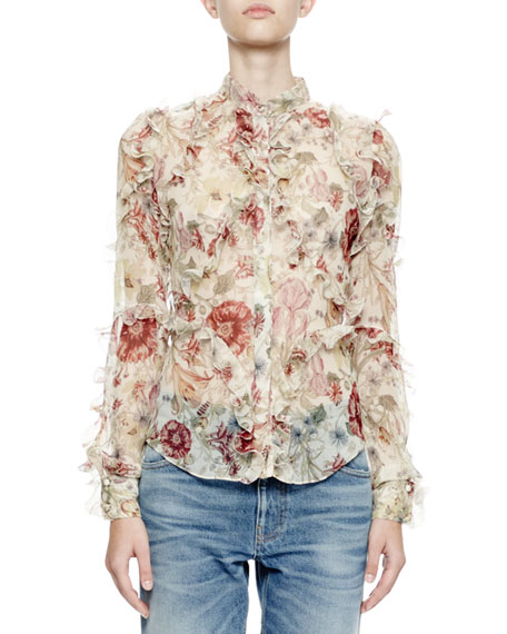 Alexander McQueen Long-Sleeve Ruffle Medieval Floral Blouse,