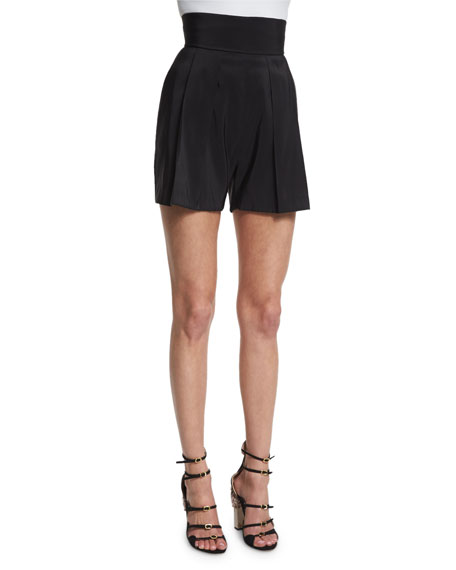 Naeem Khan High-Waist Pleated-Front Shorts, Black
