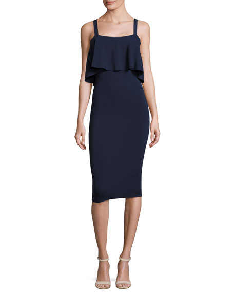 Milly Sleeveless Flounce Sheath Dress, Navy