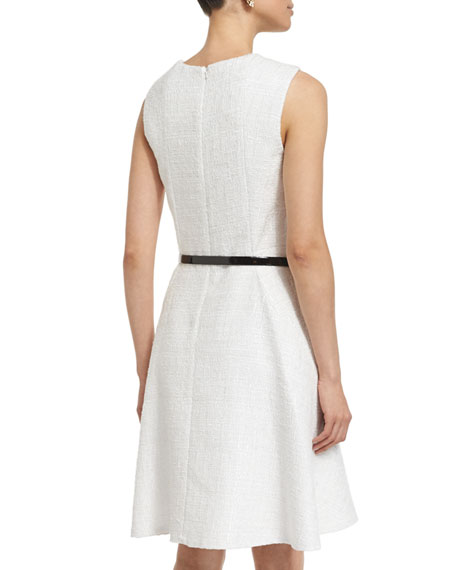Sleeveless A-Line Day Dress, White