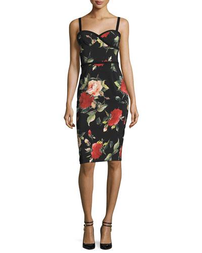 Sleeveless Floral Sweetheart Sheath Dress, Petal Pusher
