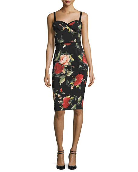 Black Halo Sleeveless Floral Sweetheart Sheath Dress, Petal