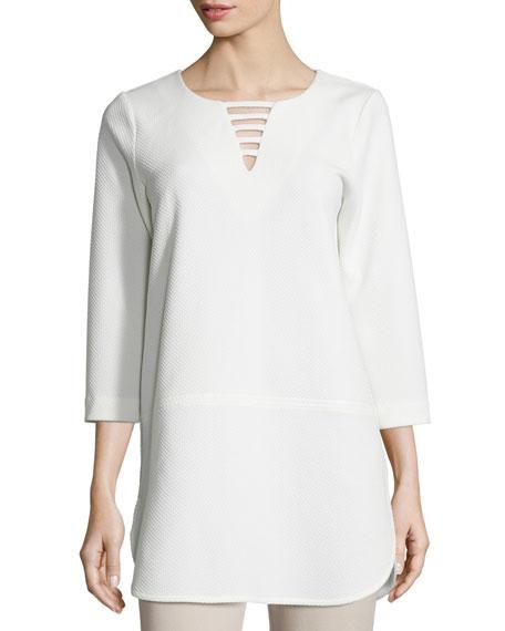Joan Vass Plus Size 3/4-Sleeve Lattice-Trim Tunic