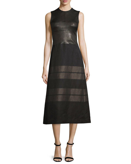 Sleeveless Contrast-Striped Midi Dress