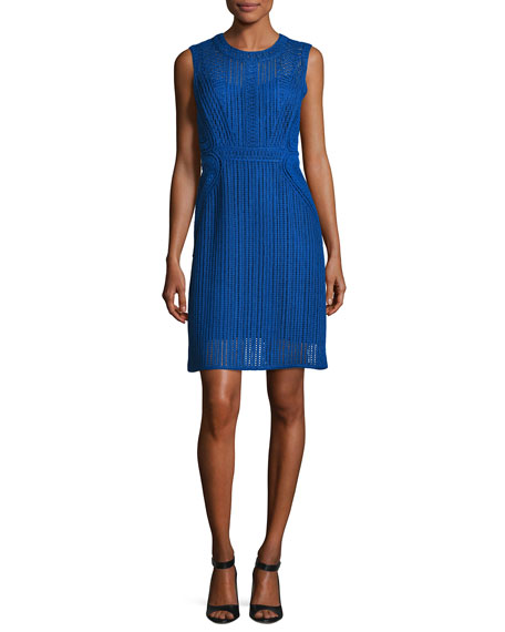 Kobi Halperin Jaydyn Sleeveless Crocheted Cotton Dress, Blue