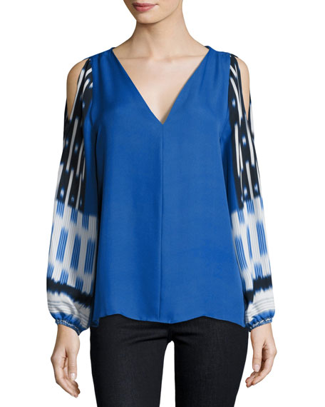 Kobi Halperin Sahara Mixed-Print Cold-Shoulder Silk Blouse, Multi