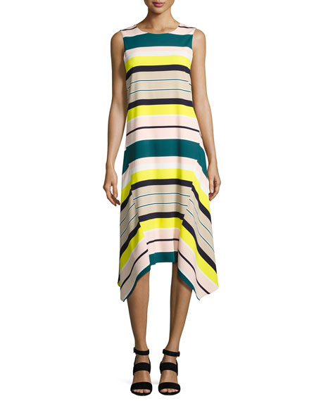Lafayette 148 New York Romona Sleeveless Merengue-Striped Tech