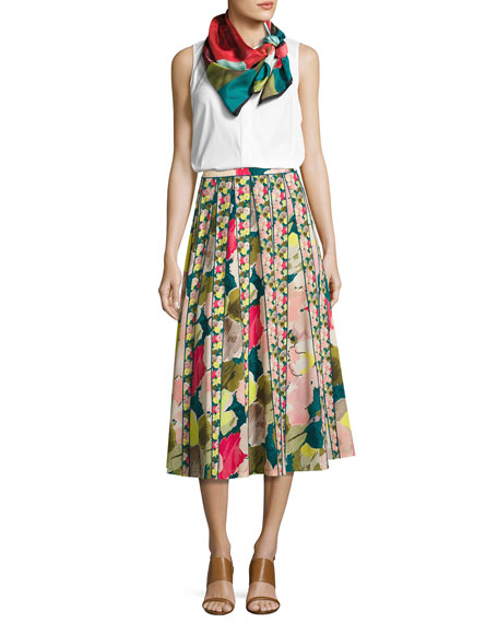Adalia Floral-Print Silk Midi Skirt, Celia Bouquet