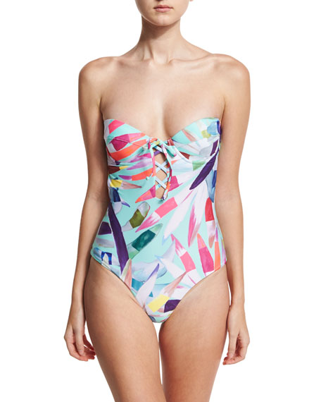 Mara Hoffman Printed Lattice Underwire Bandeau One-Piece