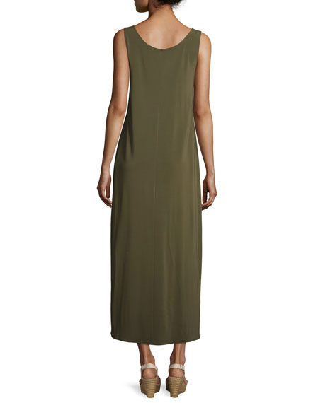 Long Cultivated Crepe Jersey Tank Dress, Dark Green