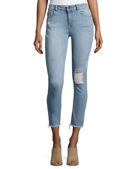 Farrow Instaslim High-Rise Skinny Ankle Jeans with Raw Hem, Trophy