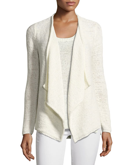 Tape-Yarn Draped Cardigan
