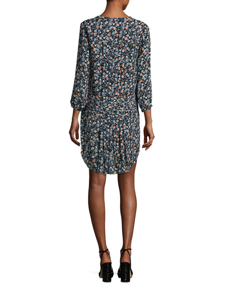 Image 2 of 2: August Pintucked Floral Silk Boho Dress, Black