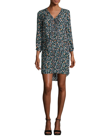 Image 1 of 2: August Pintucked Floral Silk Boho Dress, Black