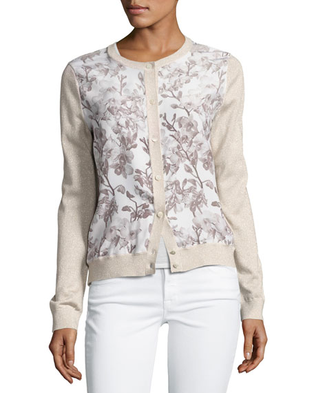 Floral Silk-Front Lurex® Bomber Cardigan