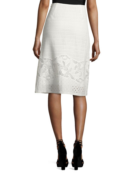 Mirabel A-line Cotton Eyelet Skirt, White