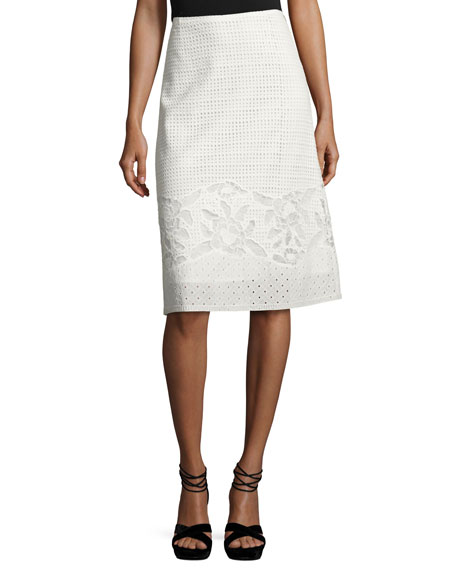 Kobi Halperin Mirabel A-line Cotton Eyelet Skirt, White
