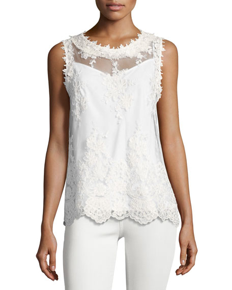 Kobi Halperin Tula Sleeveless Lace Blouse, White