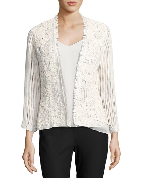 Kobi Halperin Taya Embroidered Cotton Eyelet Jacket, White