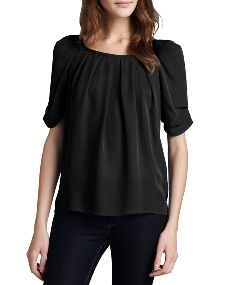 Joie Eleanor Gathered Silk Blouse