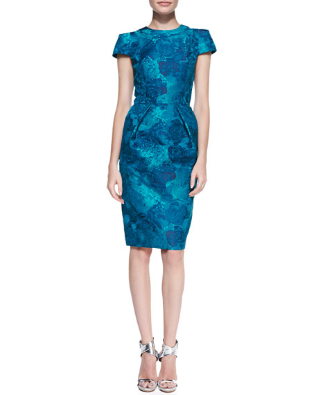 Short-Sleeve Floral Jacquard Sheath Dress, Teal